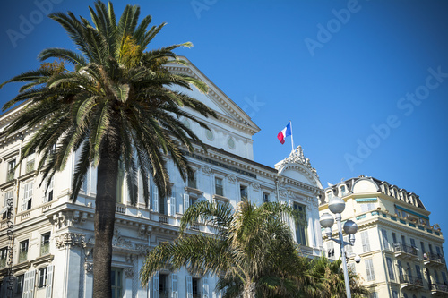 Papiers peints Opera, Theatre Nice opera house and palm trees on French Riviera