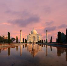 Taj Mahal Water Reflection Nobody Sunset