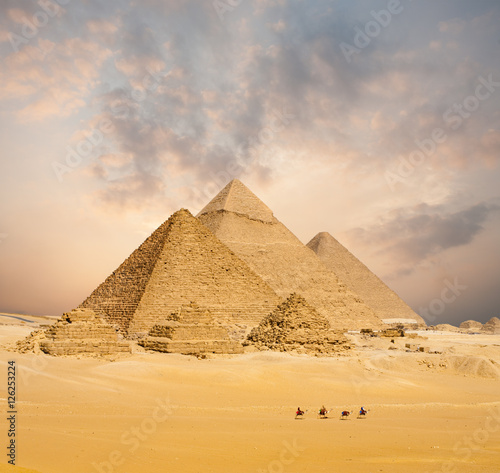 Egypt Sunset All Egyptian Pyramids Camels Distant Wide