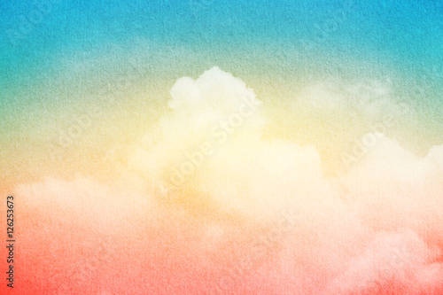 Photo  artistic sky and cloud with gradient color and grunge paper texture