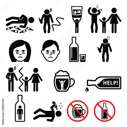 Obraz na plátně  Alcoholism, drunk man, alcohol addiction icons