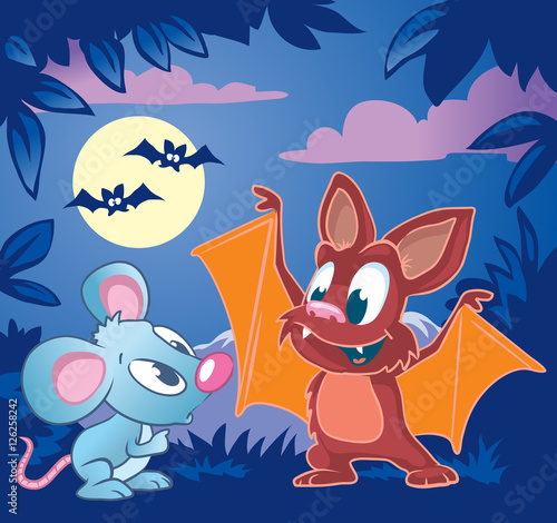 Canvas Prints Dinosaurs Cute little bat explains to little mouse how to fly. Cartoon vector illustration