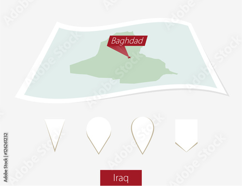 Fotografija  Curved paper map of Iraq with capital Baghdad on Gray Background