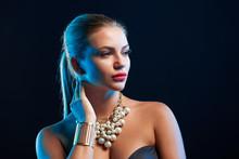Closeup Glamour Fashion Portrait Of Young Woman