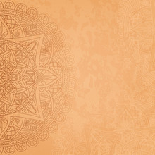 Square Background With Oriental Round Pattern And Texture Of Old Paper. Vector Illustration.