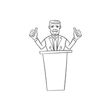 American Congressman Man In The Style Of Cartoon Standing Behind The Podium And Spoke Into The Microphone Electorates Speech Gesticulating