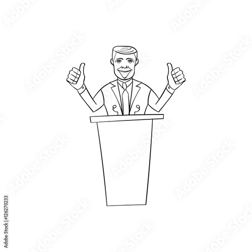 Photo  American congressman man in the style of cartoon standing behind the podium and
