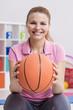 Woman and basketball