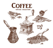 Coffee Set. Hand Drawn Collection In Vintage Style. Vector Illustration.