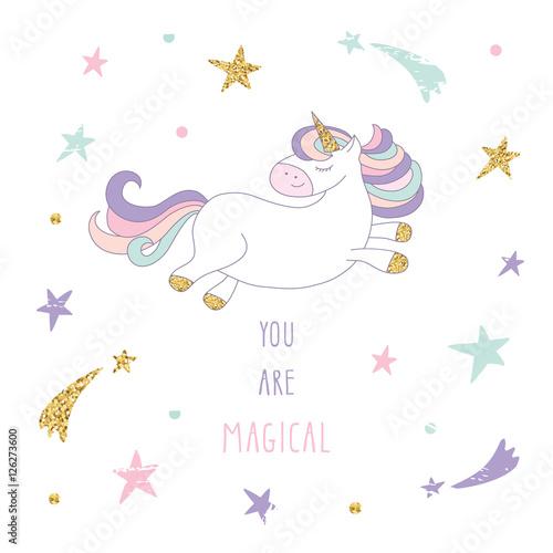 bialy-jednorozec-na-tle-w-gwiazdki-pastelowe-kolory-i-napis-you-are-magical