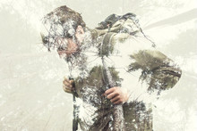 Double Exposure Hiker Into The...