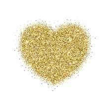 Icon Of Heart With Gold Sparkles And Glitter