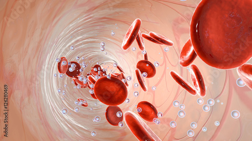 Oxygen molecules and Erythrocytes floating in the blood stream Wallpaper Mural