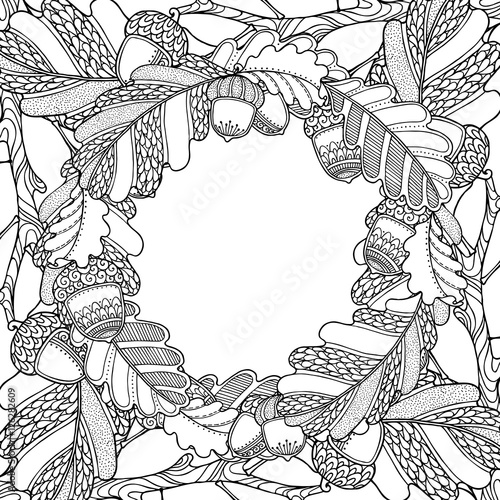 Nature magic forest frame with Oak - Buy this stock vector and ...