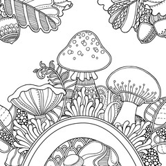 Vector composition with Grass, mushrooms