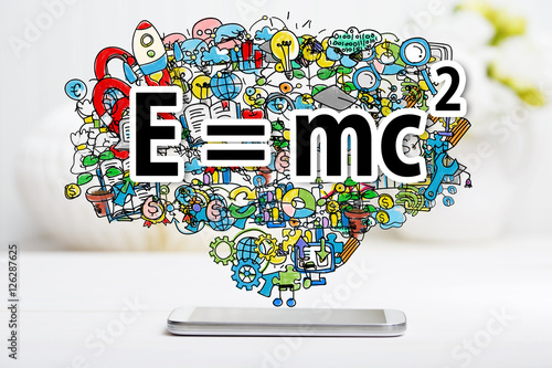 Mass Energy Equivalence concept with smartphone Poster