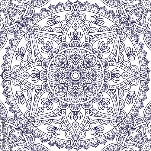 orientalny-bezszwowy-wzor-niebieska-ramka