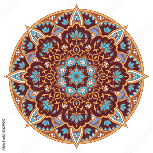 Oriental Round Pattern Colored Circle Arabic Indian American Moroccan Ethnic Ornament In