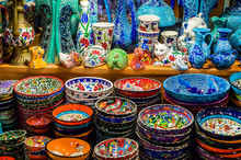 Colorful Turkish Dishes In The Grand Bazaar Of Istanbul, Turkey