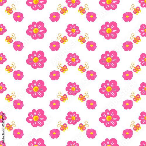 Sweet Girl Background For Template Birthday Card Baby Shower Invitation Girls Wallpaper Clothing Or Dress Fabric Pink Print With Flower And Butterfly Little Princess Pattern Vector Buy This Stock Vector And