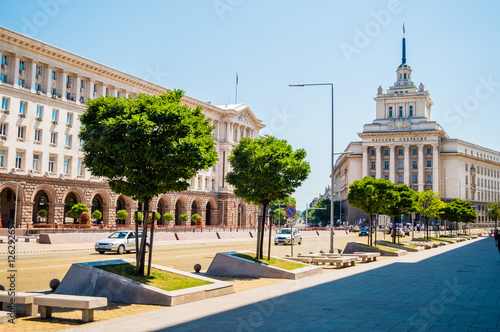 Independence square, National Assembly of Bulgaria, TZUM, the former Party House, Largo in Sofia, Bulgaria