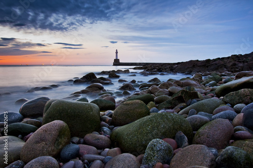 Lighthouse in Aberdeen- Scotland long exposure photo - panorama Canvas Print