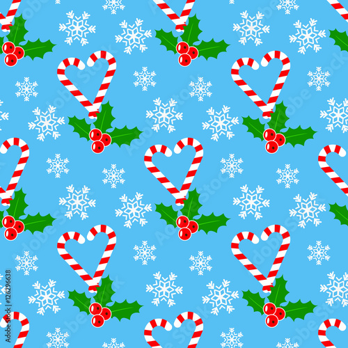 Cotton fabric Candy cane and mistletoe, Seamless romantic pattern for Christmas time