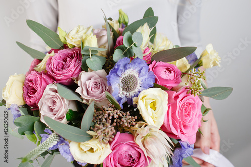 Fototapety, obrazy: beautiful bouquet made of different flowers with in woman hand . colorful color mix flower