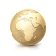 brass globe 3D illustration europe and africa map on white background