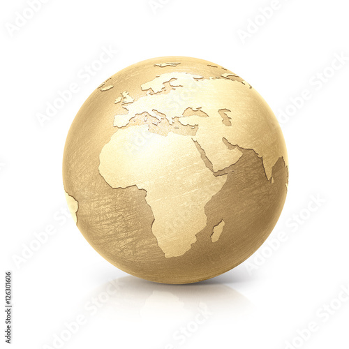 Fotografie, Tablou  brass globe 3D illustration europe and africa map on white background