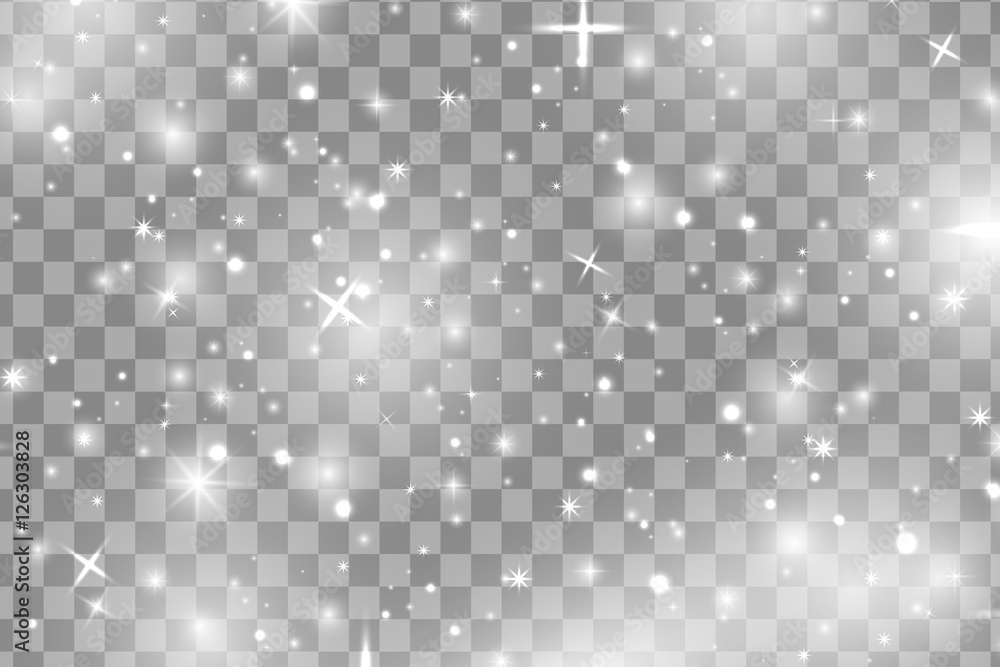 Fototapety, obrazy: White sparks and white stars glitter special light effect. Vector sparkles on transparent background. Christmas abstract pattern. Sparkling magic dust particles