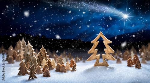 Foto-Doppelrollo - Landschaft aus Holzdekoration im Schnee, fantasievolle Szene für Weihnachten und Winter  (von Smileus)