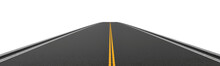 Rendering Of Empty Two-way Asphalt Road Going Straight And Disappearing Into Distance