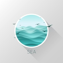Sea Icon. Waves And Seagulls. ...