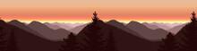 Image Landscape. Panorama Of Autumn Mountains. Violet Shades.  Seamless Woodland.