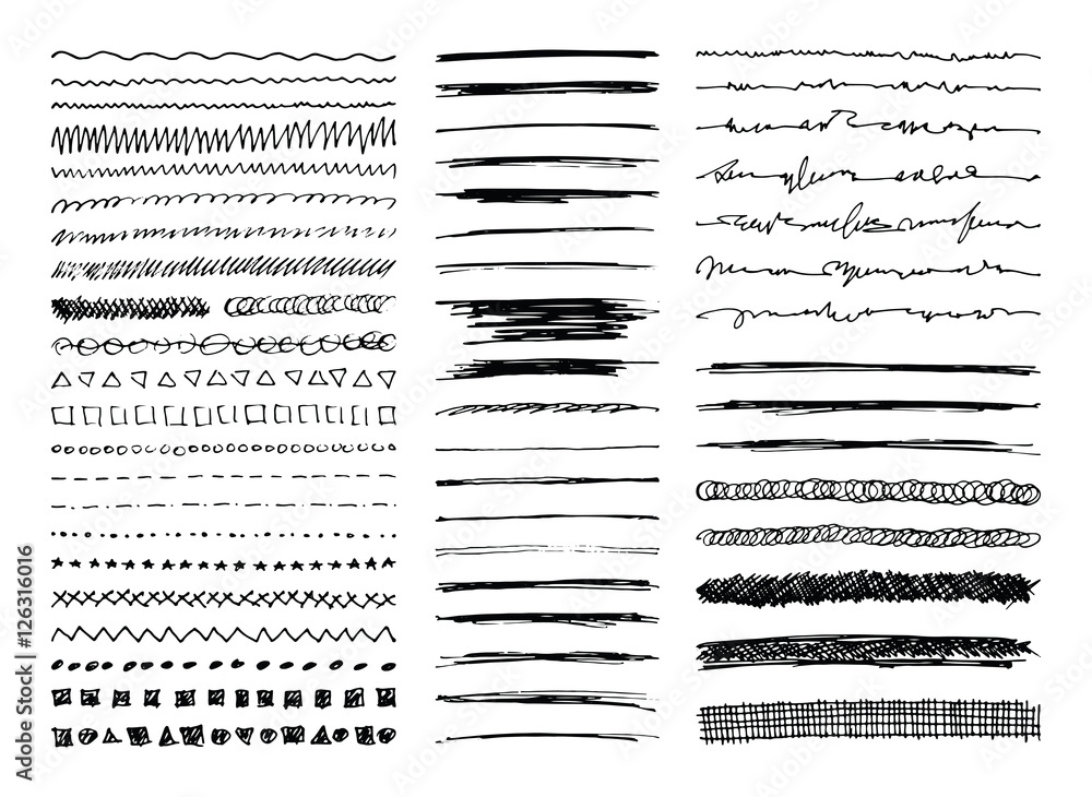 Fototapety, obrazy: Set of hand drawn line borders, sketch strokes, scribbles and design elements isolated on white. Doodle style brushes. Monochrome vector eps8 illustration.