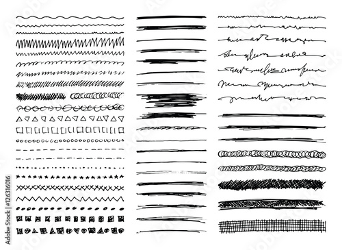 Set of hand drawn line borders, sketch strokes, scribbles and design elements isolated on white. Doodle style brushes. Monochrome vector eps8 illustration.