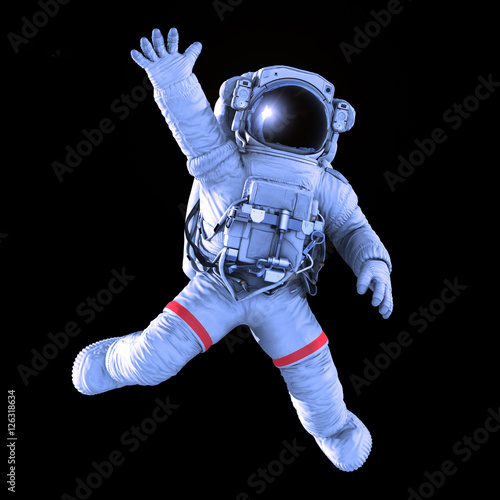 Fotomural Astronaut waving on a black background, work path