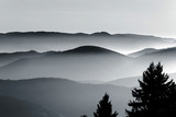 Aerial view of foggy mountains relief - 126321669