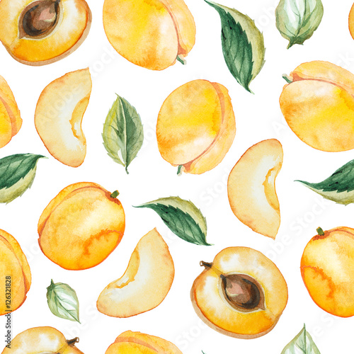 seamless pattern of watercolor apricot Poster Mural XXL