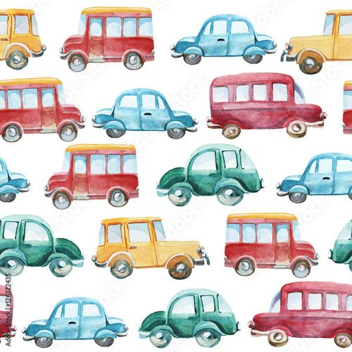 Foto op Aluminium Cartoon cars watercolor pattern of different cars