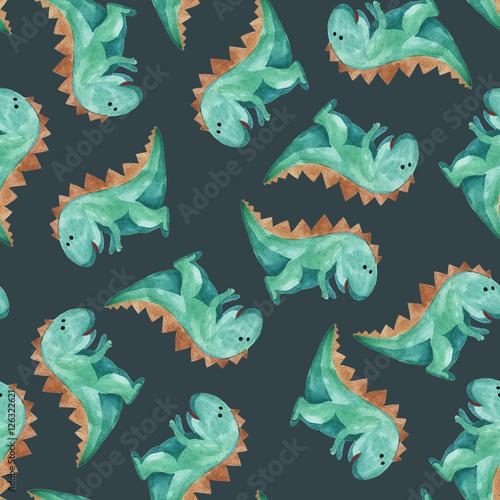 Cotton fabric watercolor pattern of green dinosaur