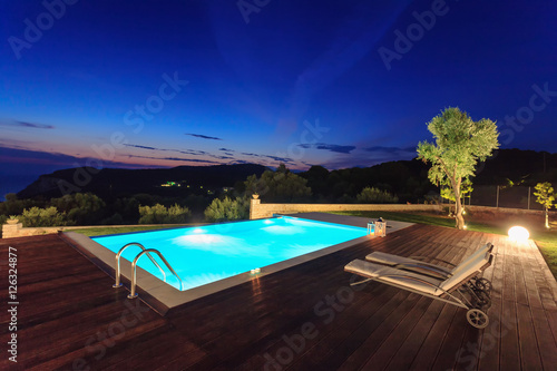 Fotografie, Obraz  big luxury pool with villa