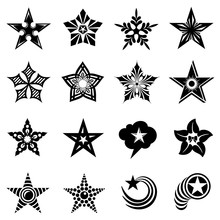 Decorative Stars Icons Set. Simple Illustration Of 16 Decorative Stars Vector Icons For Web