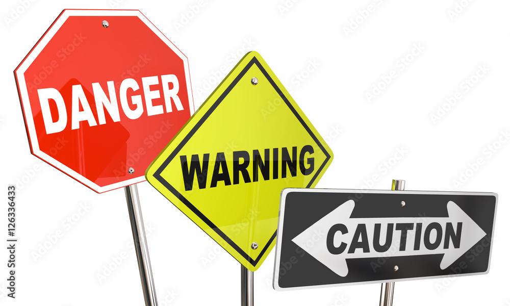 Fototapeta Danger Warning Caution Stop Yield Road Street Signs 3d Illustrat