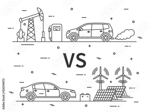 Fuel Vs Electric Car Vector Concept