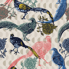 Vintage Background With Birds And Flowers, Fashion Pattern