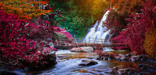 Waterfalls And Colorful Leaves