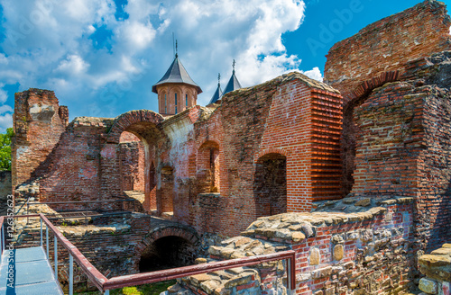 Aluminium Prints Ruins Ruins of medieval old fortress (castle) and Church in royal court Targoviste, Romania