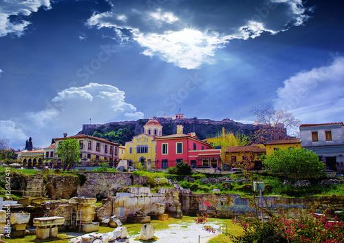 Fotobehang Athene Athens,Greece.Plaka area..Remains of the Hadrian's Library in Monastiraki square in Athens,Greece